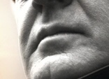 Close up of John le Carré's lips