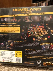 Back cover of Homeland: The Game