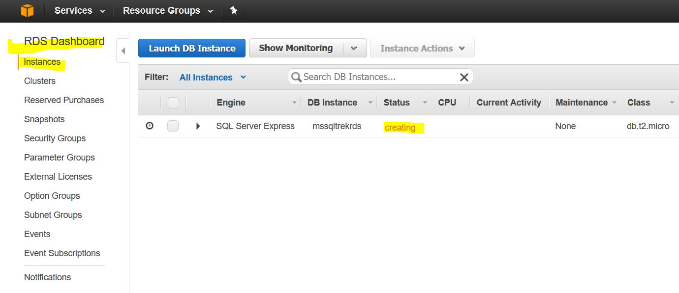 How to create a SQL Server Instance on Amazon RDS