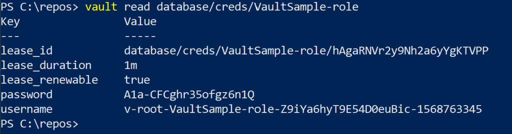 PowerShell output from the vault read command showing newly generated SQL Server login