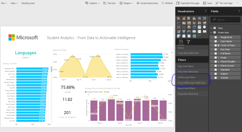 power bi drill through action