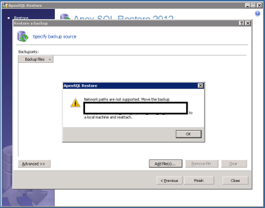 Apexsql-restore-Network-backup-paths-not-supported