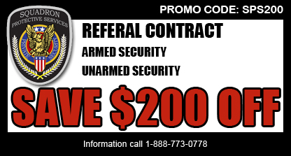 Special Offer | Security Guards & Vehicle Patrol | Squadron Protective Services