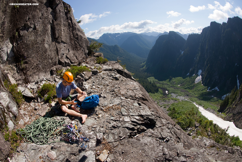 Rock climbing on Widowmaker Arete, Crown Mountain. Lynn Headwaters Park, North Vancouver. British Columbia, Canada