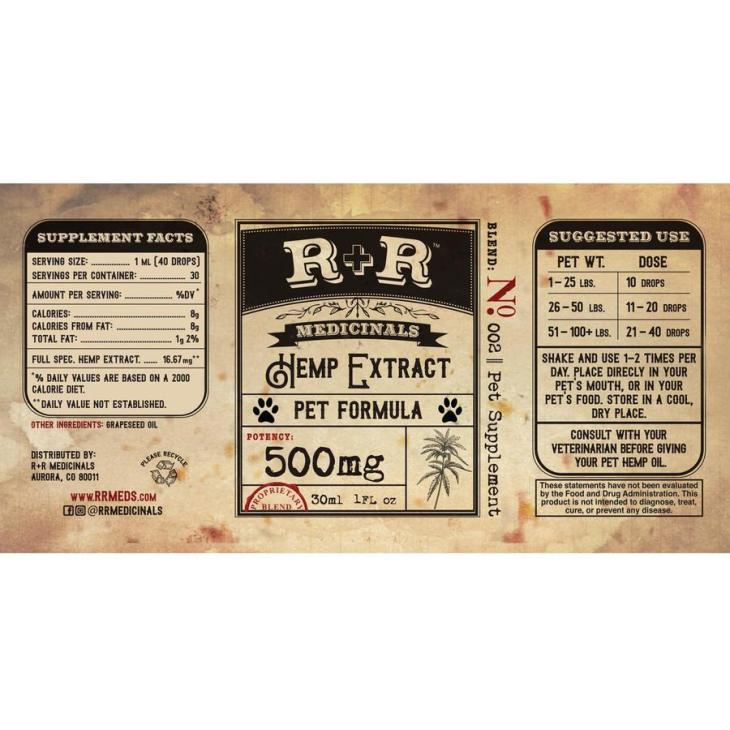 R&R Meds CBD Pet Tincture 500mg