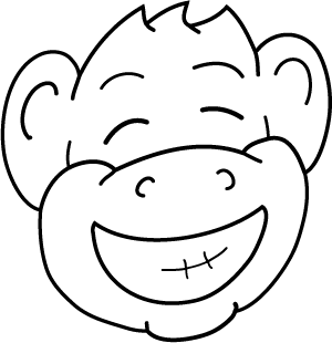 Happy Monkey Face Drawing