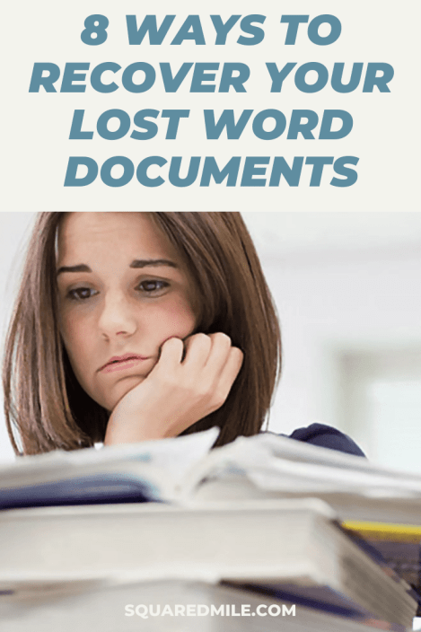How To Recover Lost Word Documents