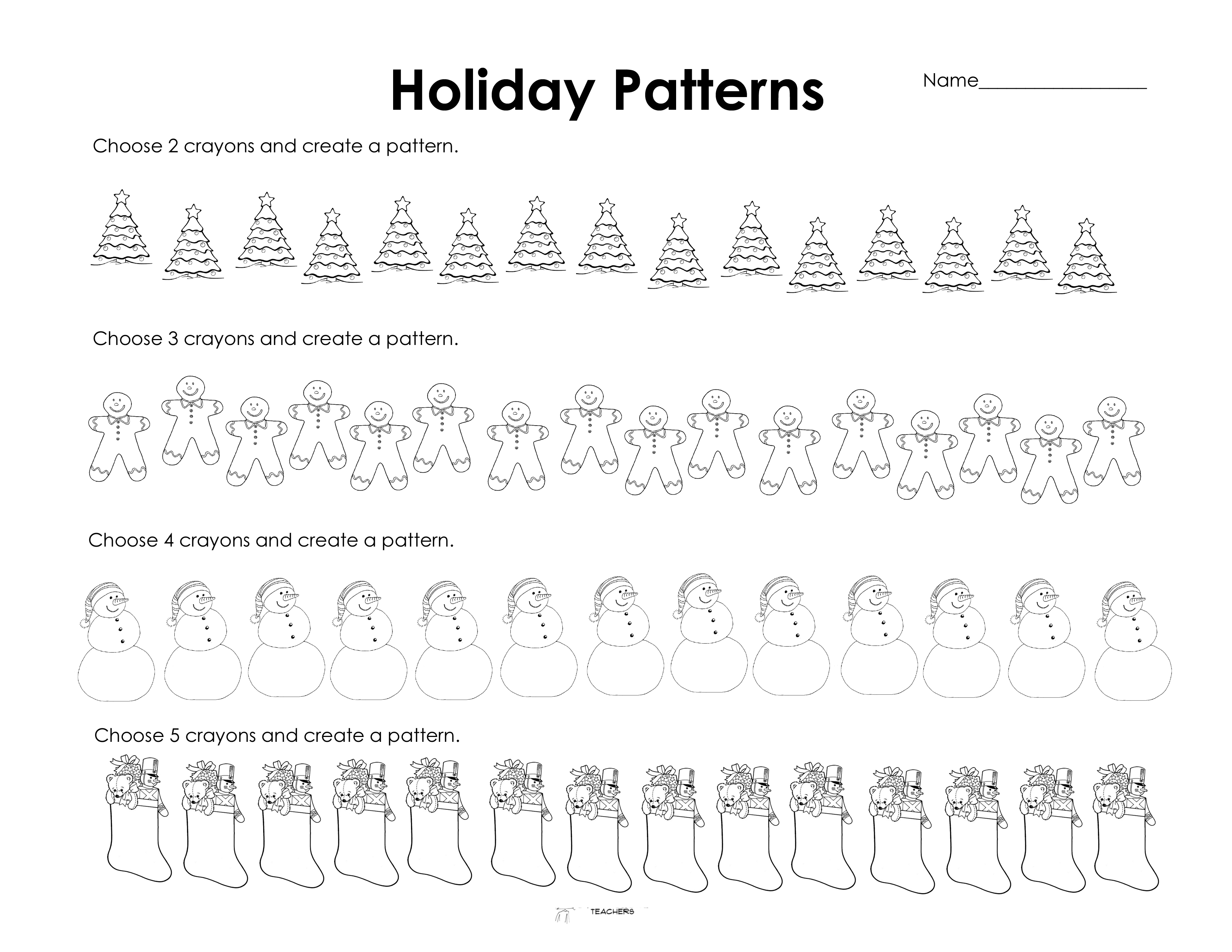 Holiday Patterns Free Worksheet