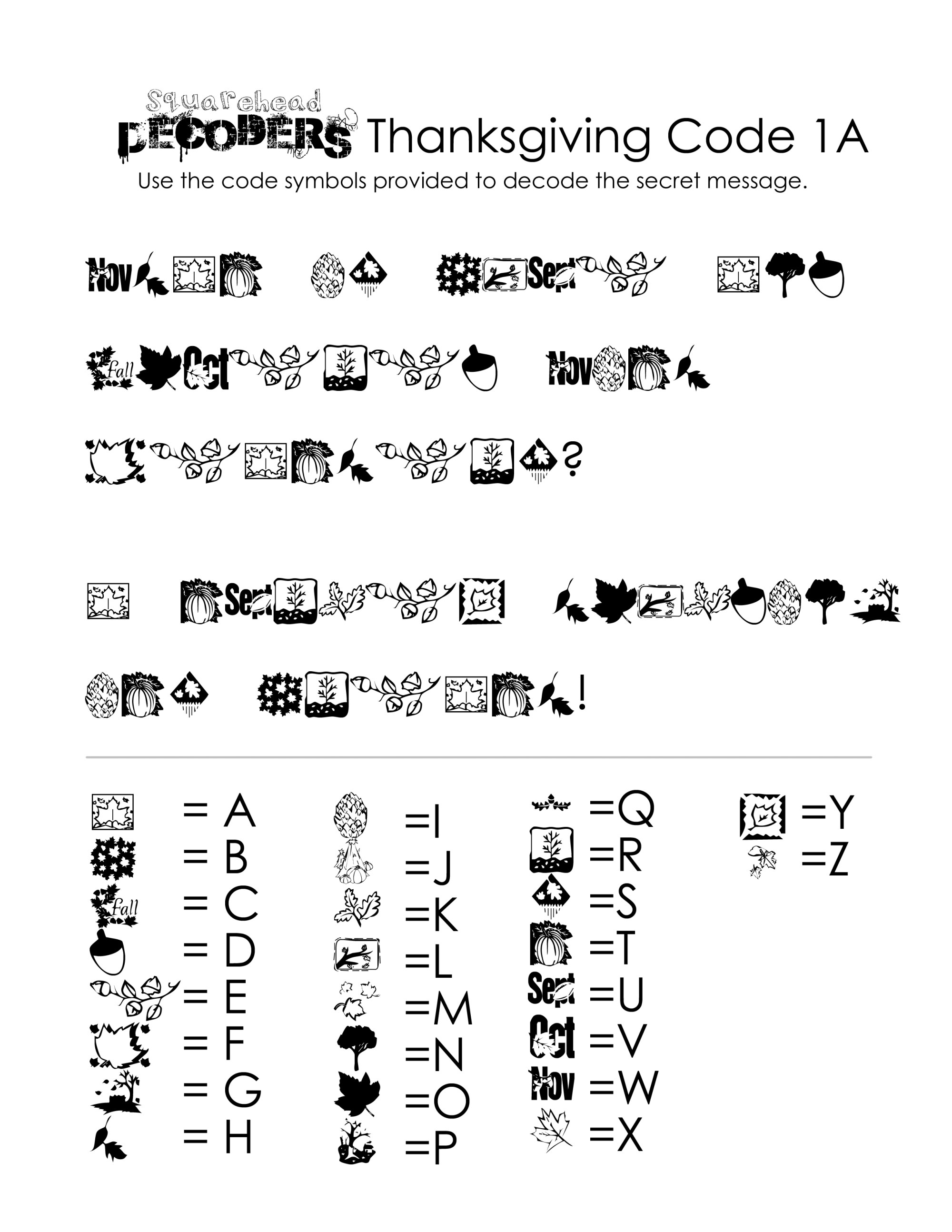 hight resolution of Thanksgiving Decoding Worksheets (free!)   Squarehead Teachers