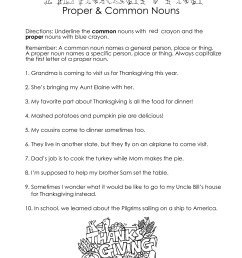 Thanksgiving Common vs. Proper Nouns worksheet   Squarehead Teachers [ 3300 x 2550 Pixel ]