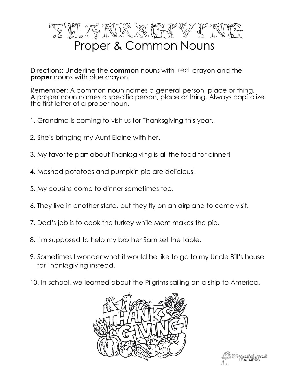 medium resolution of Thanksgiving Common vs. Proper Nouns worksheet   Squarehead Teachers