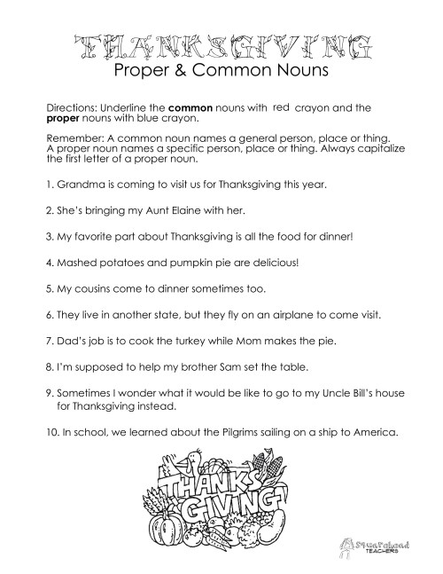 small resolution of Thanksgiving Common vs. Proper Nouns worksheet   Squarehead Teachers