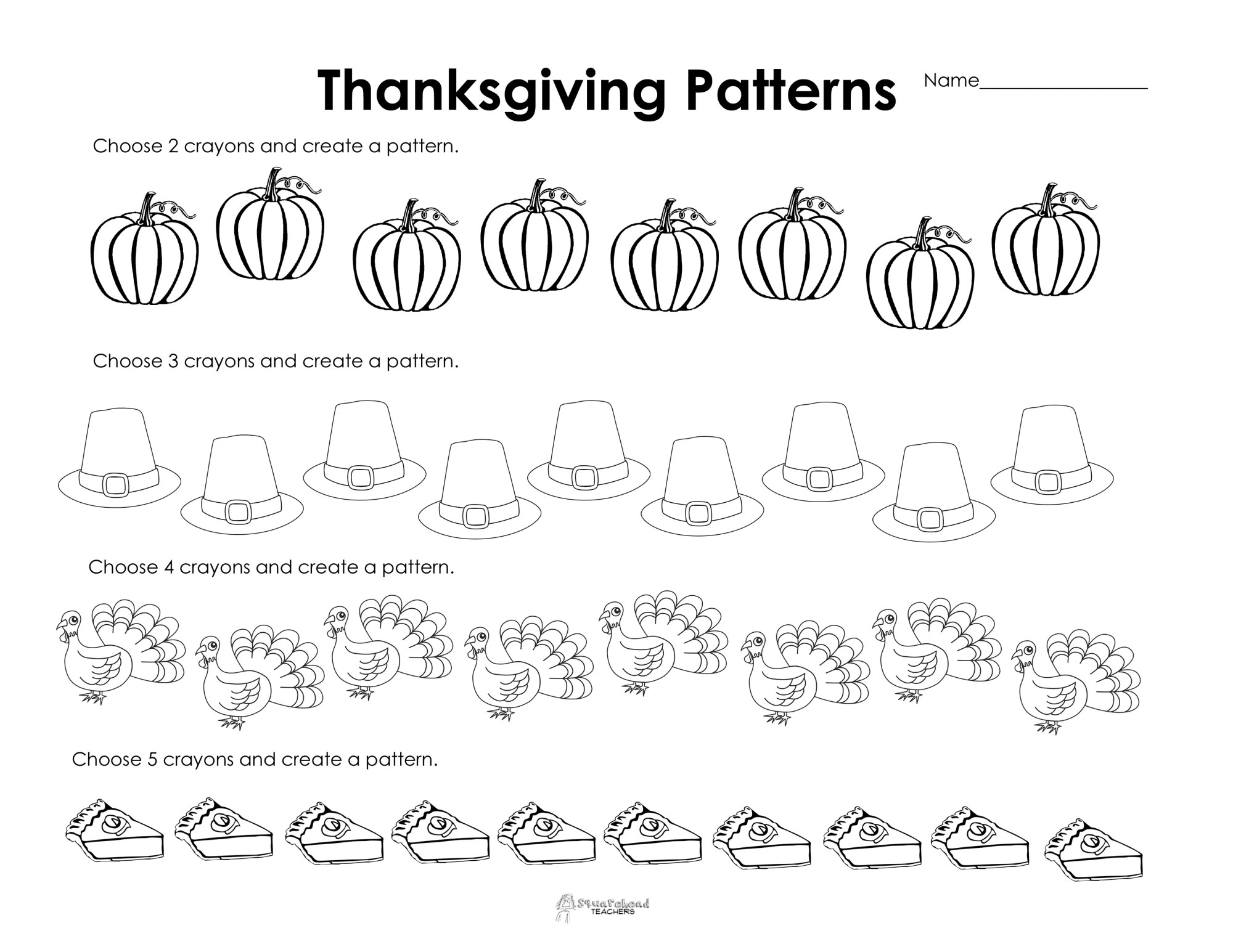 hight resolution of Making Patterns: Thanksgiving Style (free worksheet!)   Squarehead Teachers