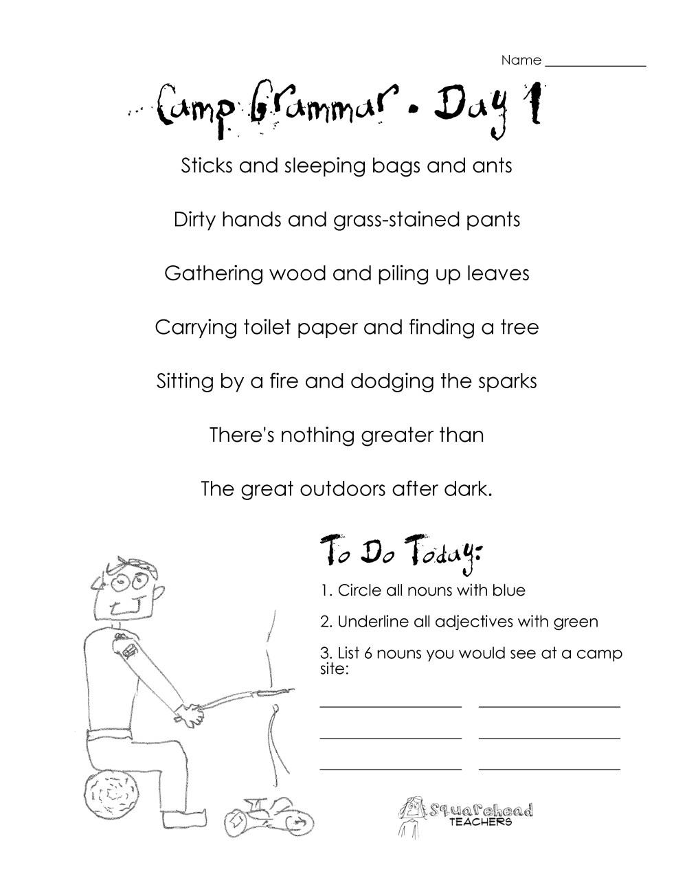 medium resolution of Camp Grammar (4 days of free worksheets for upper grades)   Squarehead  Teachers
