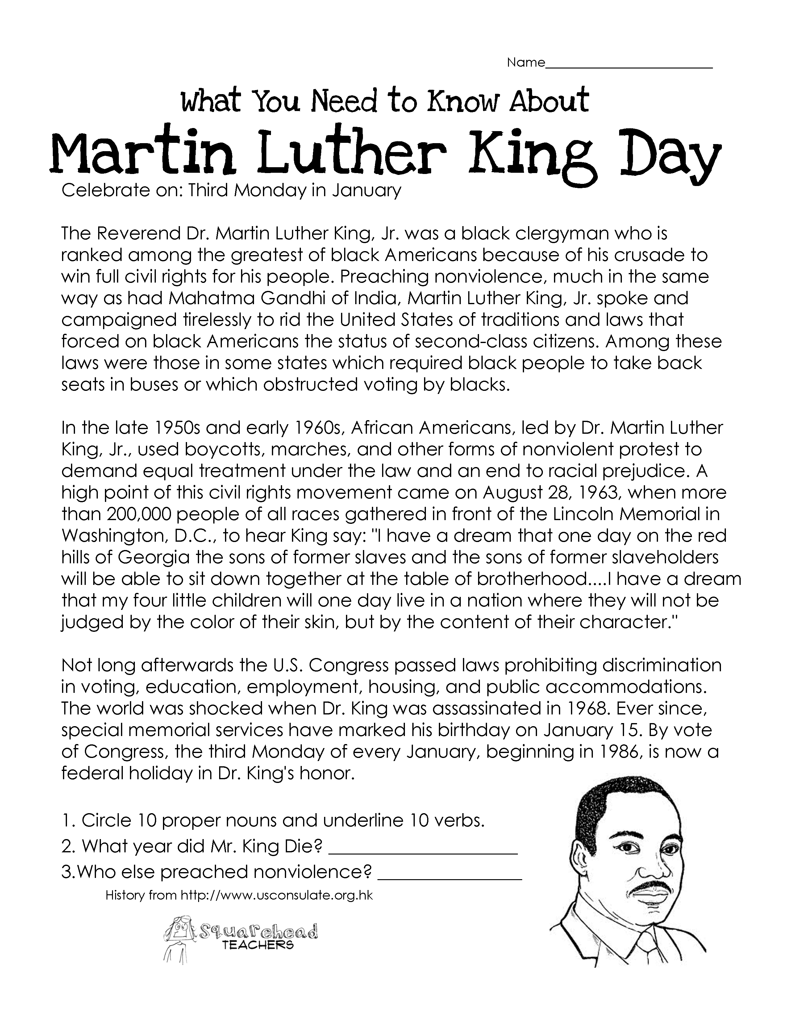Martin Luther King Day Free Worksheet