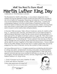 Martin Luther King Day (free worksheet) | Squarehead Teachers