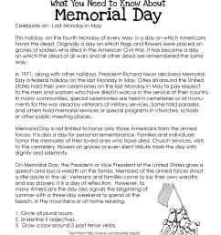 Memorial Day (free worksheet)   Squarehead Teachers [ 3300 x 2550 Pixel ]