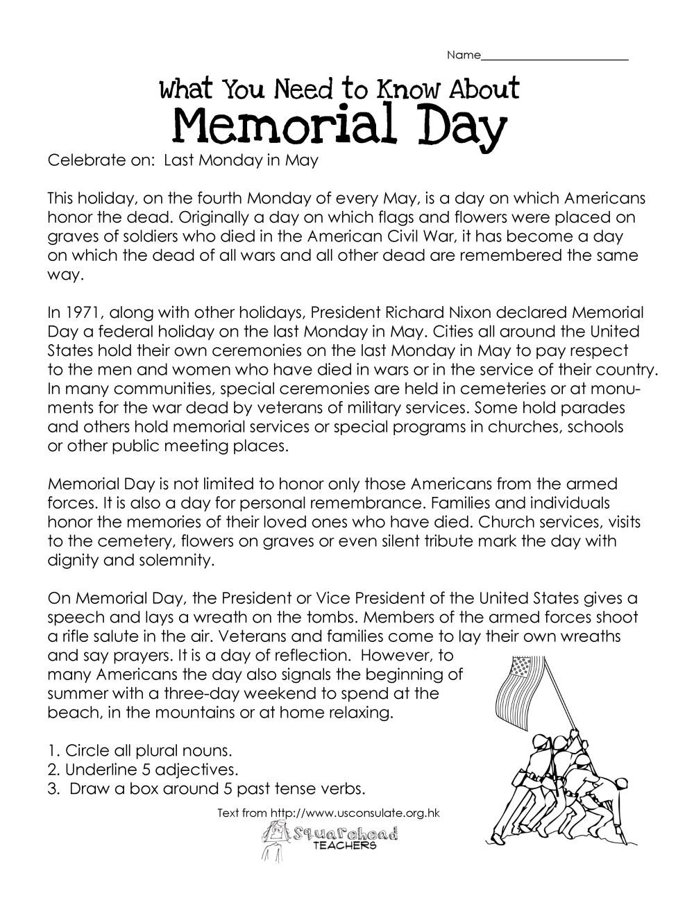 medium resolution of Memorial Day (free worksheet)   Squarehead Teachers