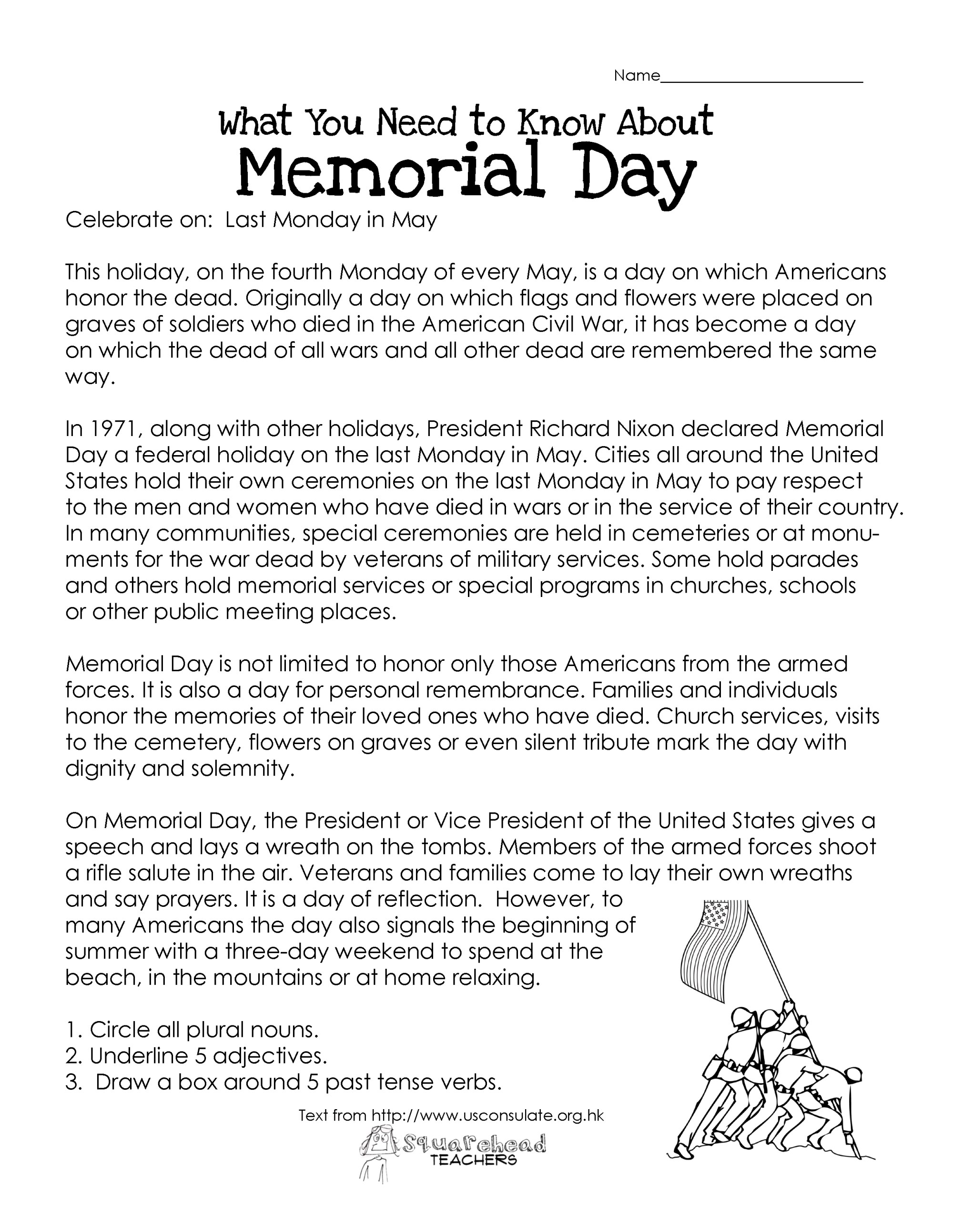 hight resolution of Memorial Day (free worksheet)   Squarehead Teachers