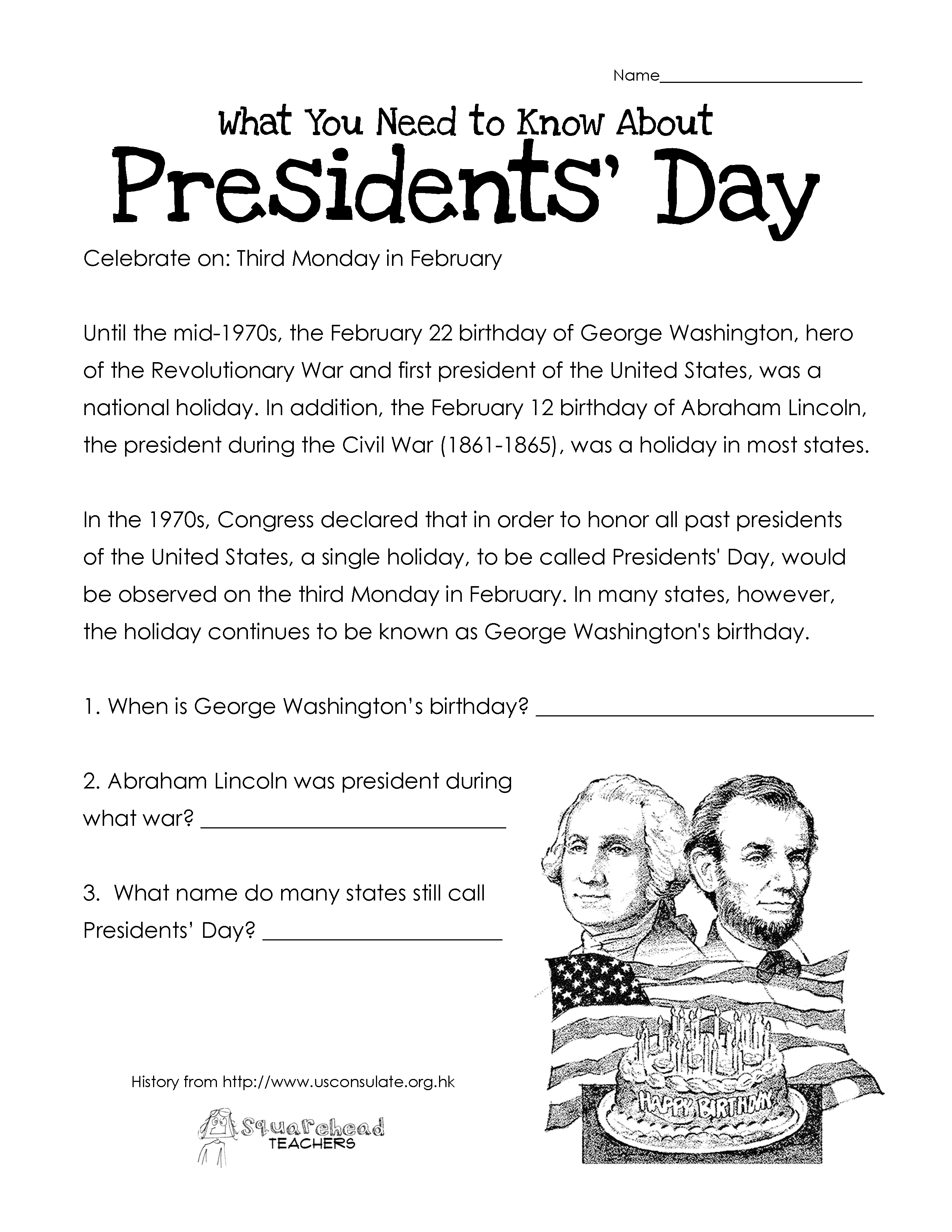Presidents Day Free Worksheet Updated