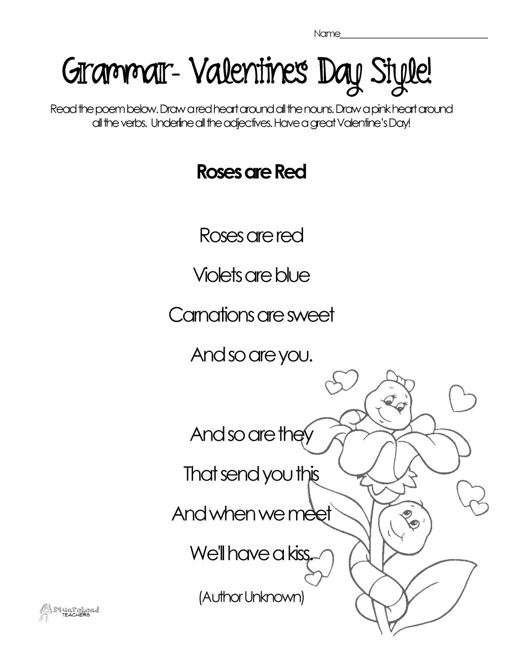 medium resolution of Silly Valentine's Day Poems for Grammar Practice (free worksheets)    Squarehead Teachers