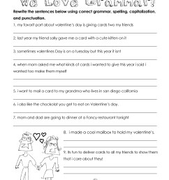 Valentine's Day Grammar (free worksheet for 3rd grade and up)   Squarehead  Teachers [ 3300 x 2550 Pixel ]