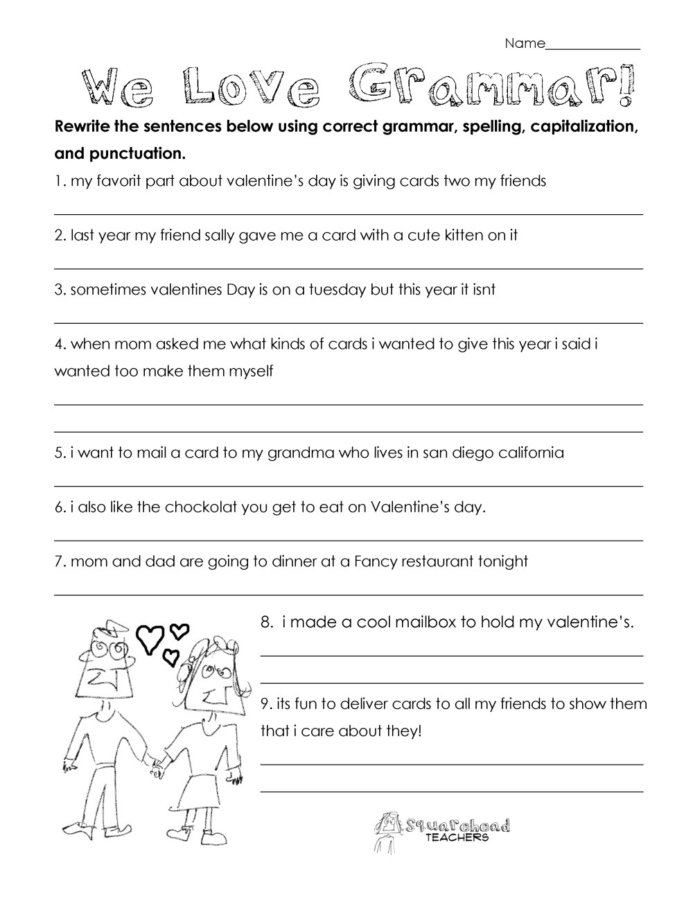 medium resolution of Valentine's Day Grammar (free worksheet for 3rd grade and up)   Squarehead  Teachers