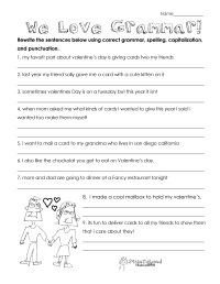 Valentines Day Grammar (free worksheet for 3rd grade and ...