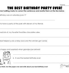 Best Birthday Party Ever (grammar practice worksheet)   Squarehead Teachers [ 2550 x 3300 Pixel ]