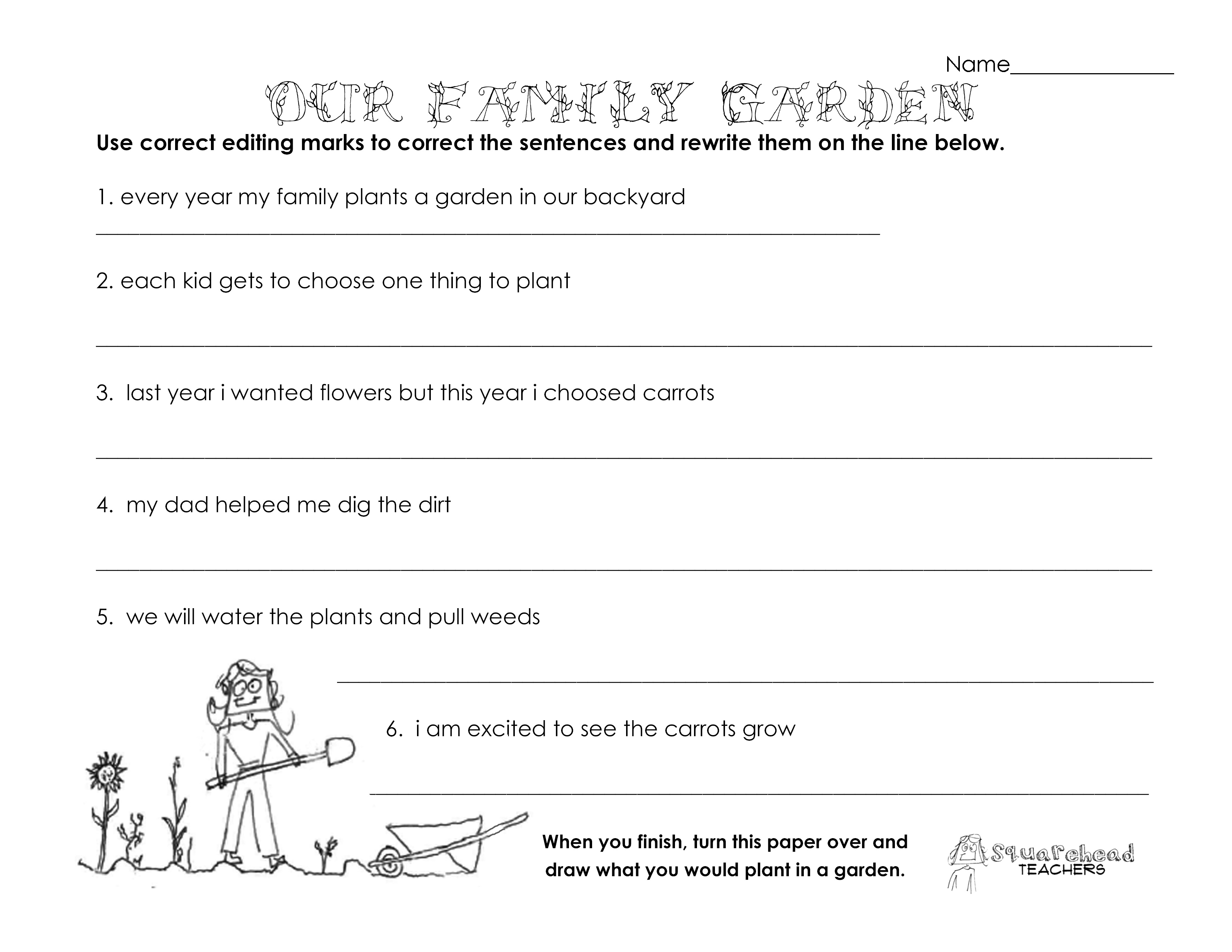 Our Family Garden Grammar Worksheet
