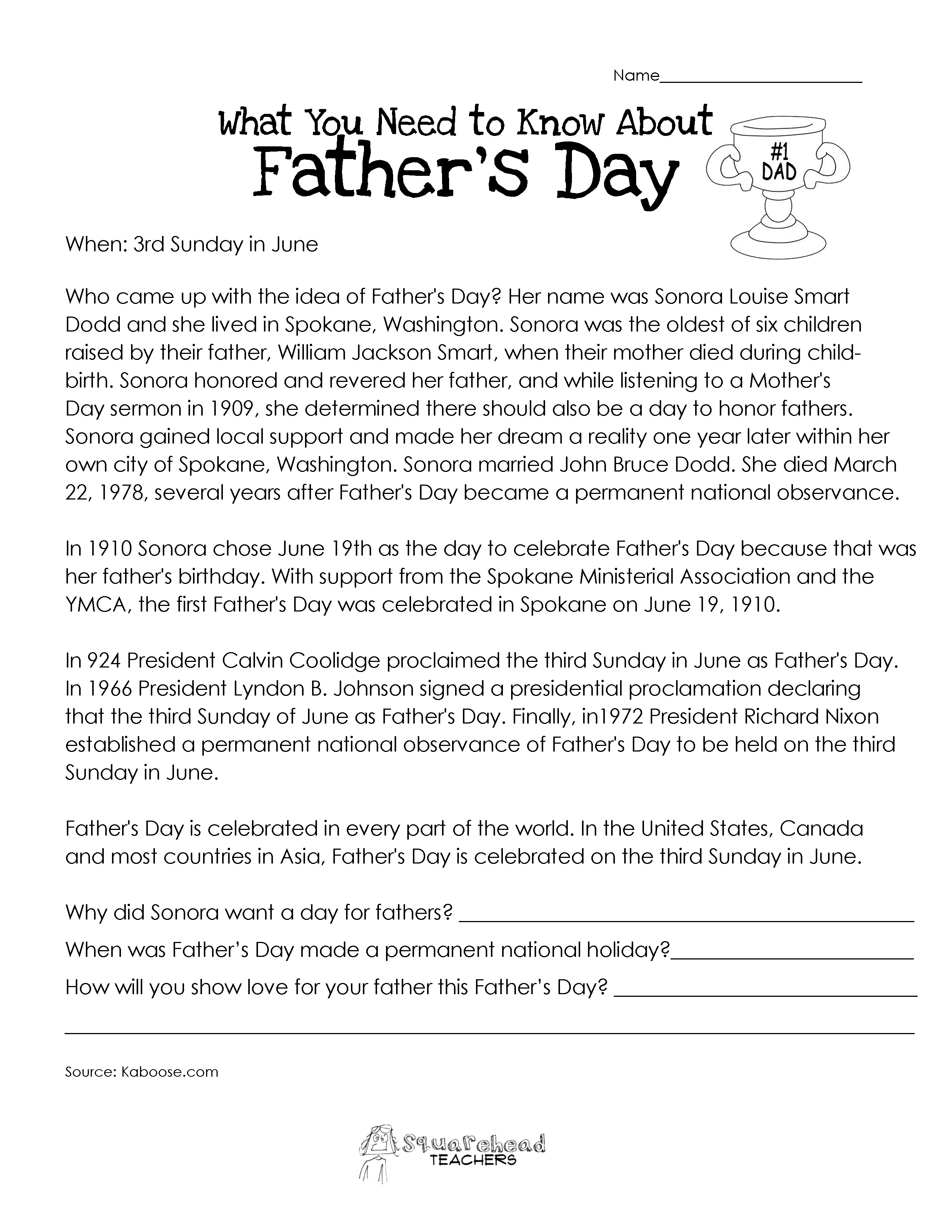 Labor Day History Worksheet