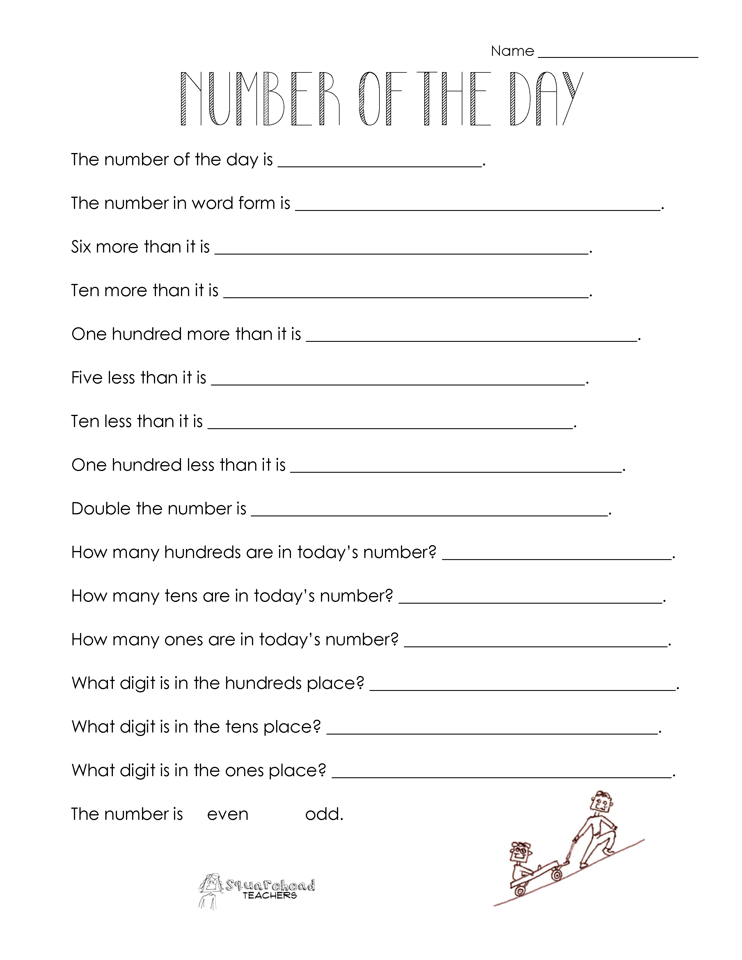 Number Of The Day Worksheet Collection