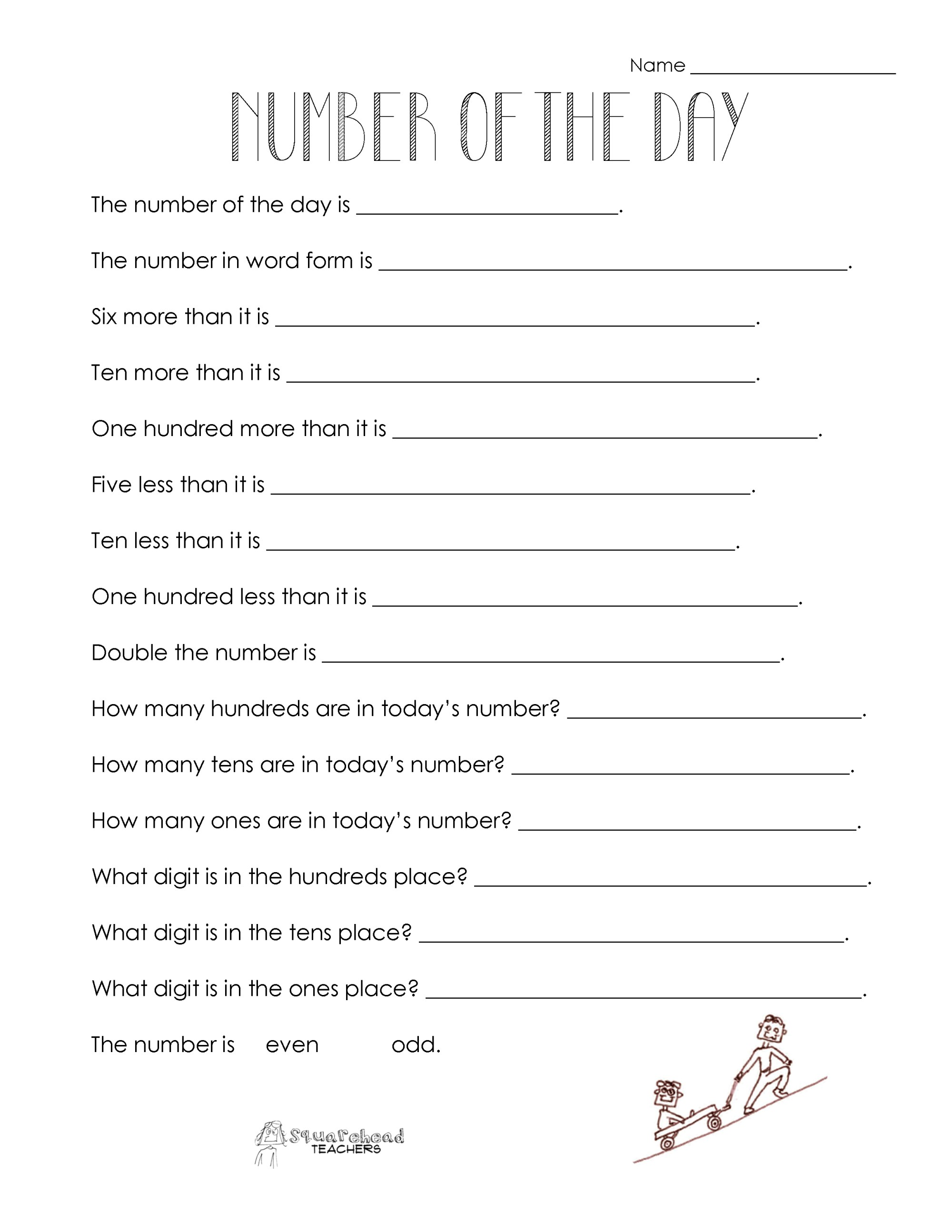 hight resolution of Number of the Day (worksheet collection)   Squarehead Teachers