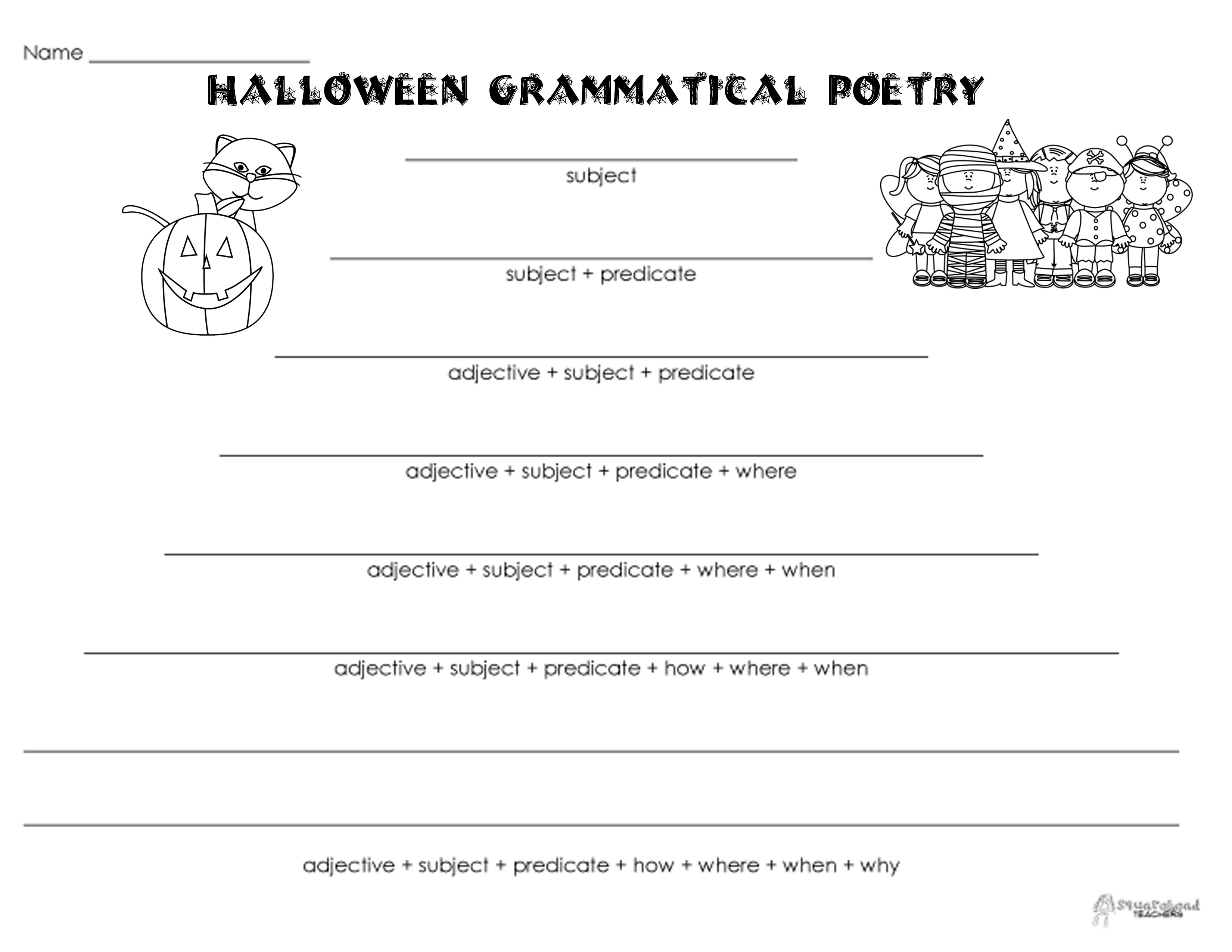 Grammatical Poetry Halloween