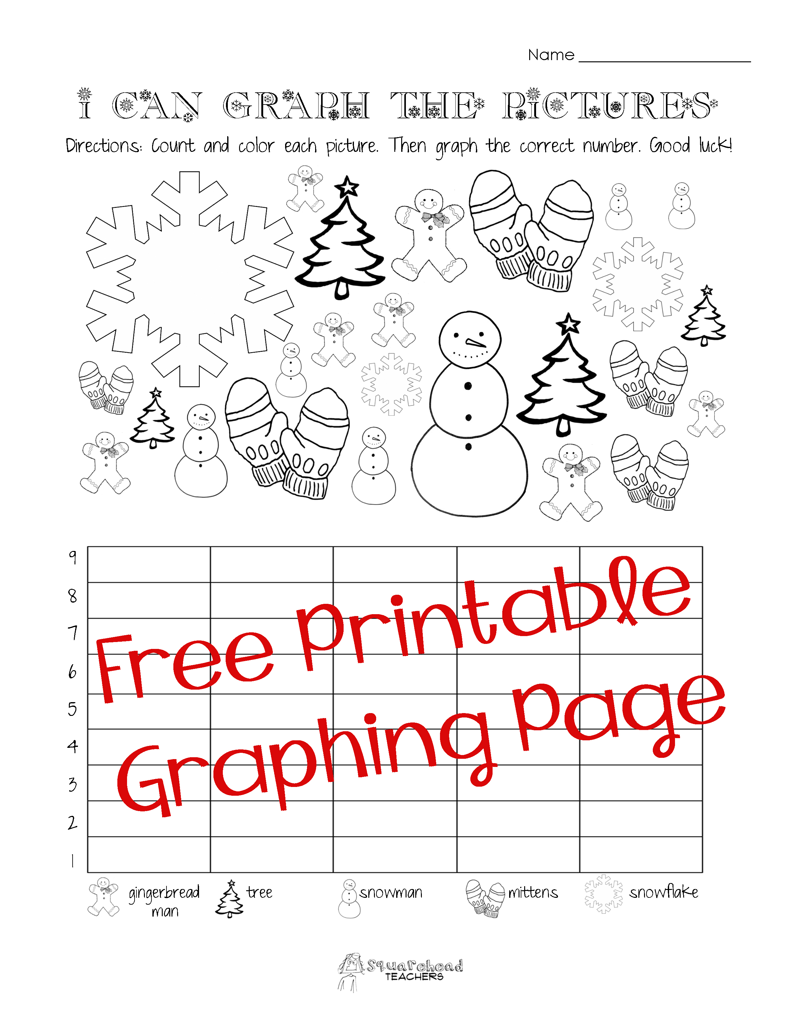 Free Christmas Winter Graphing Worksheet Kindergarten First Grade