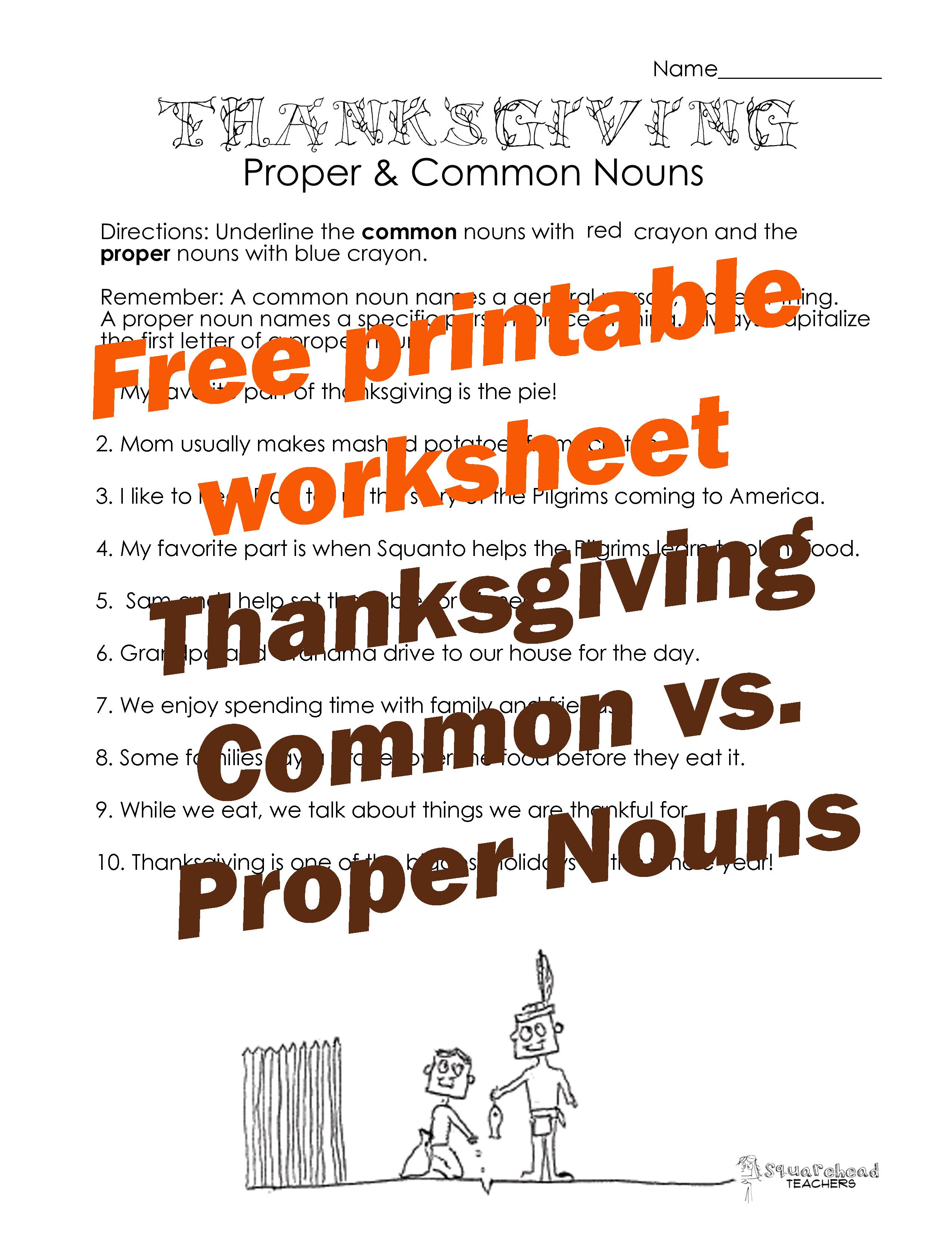 Thanksgiving Common Vs Proper Nouns Worksheet 2