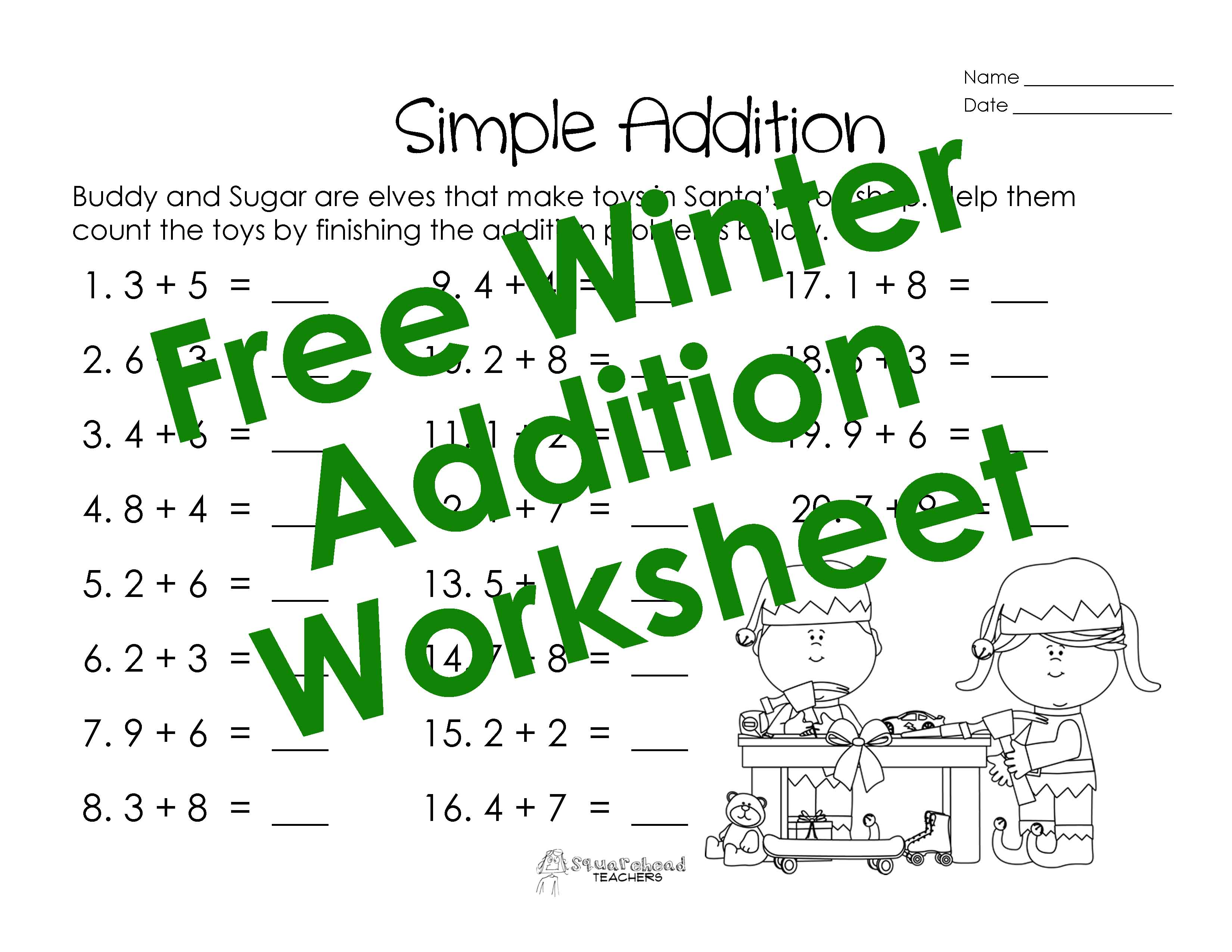 Adding Single Digits Winter Worksheet