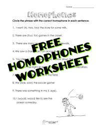 Homophones Worksheet 4Th Grade Free Worksheets Library ...