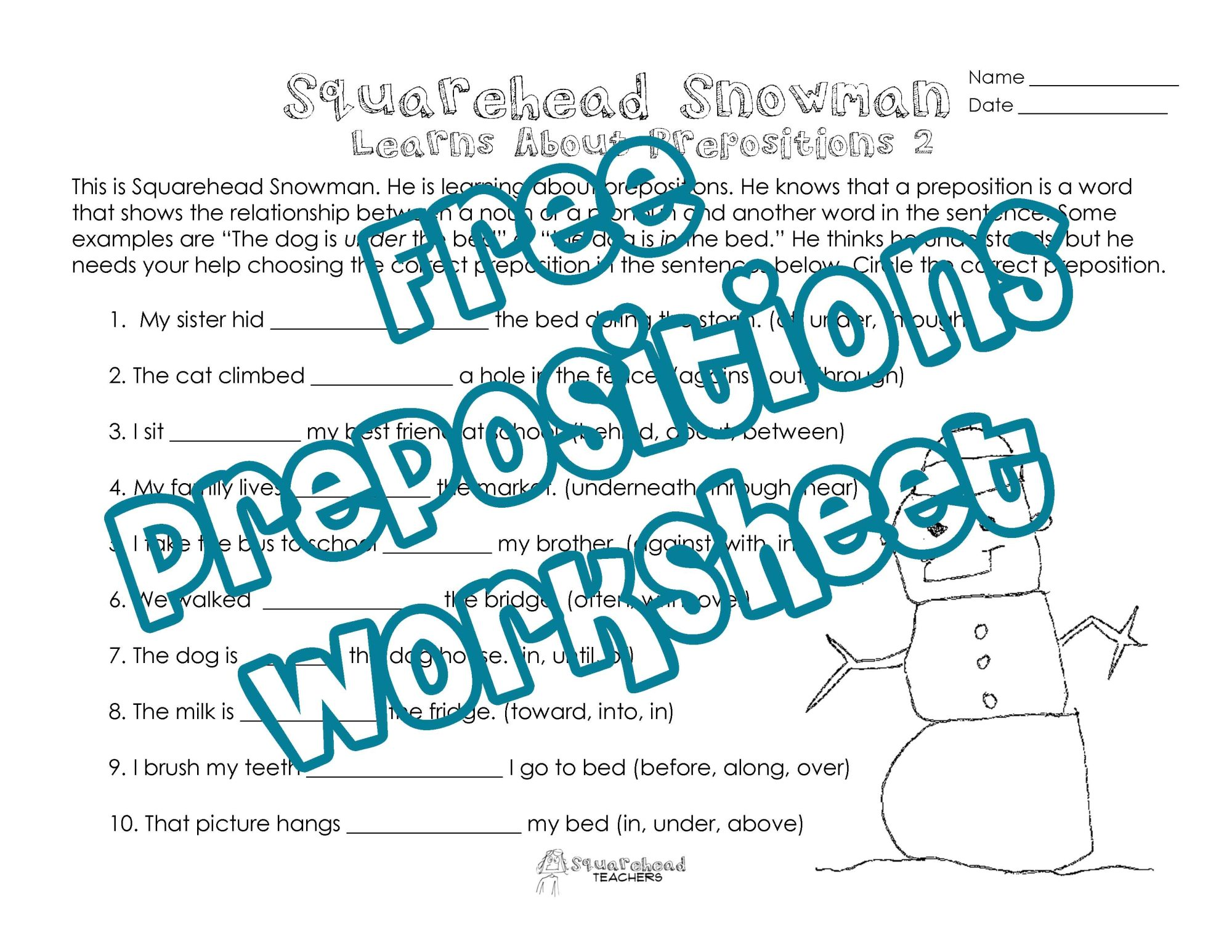 hight resolution of Squarehead Snowman: Prepositions Practice 2   Squarehead Teachers