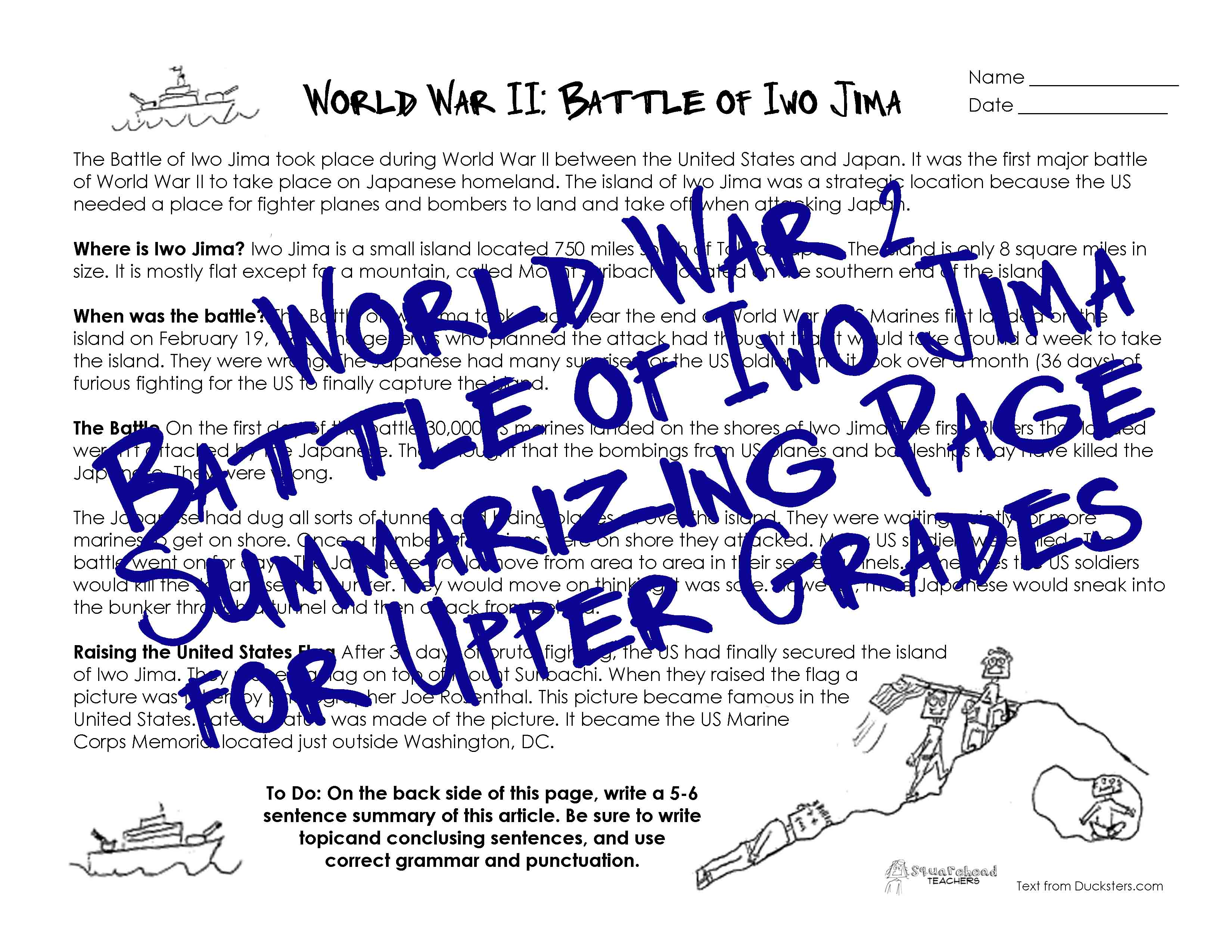 Wwii Worksheet For Upper Grades Battle Of Iwo Jima