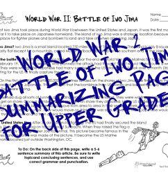 WWII Worksheet for Upper Grades: Battle of Iwo Jima   Squarehead Teachers [ 2550 x 3300 Pixel ]