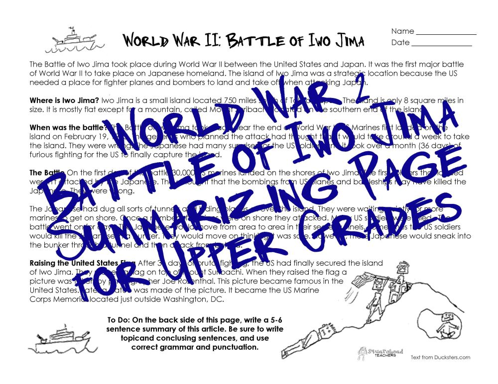 medium resolution of WWII Worksheet for Upper Grades: Battle of Iwo Jima   Squarehead Teachers