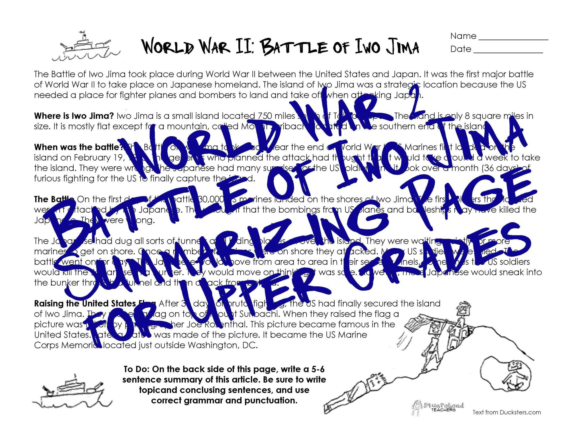 hight resolution of WWII Worksheet for Upper Grades: Battle of Iwo Jima   Squarehead Teachers