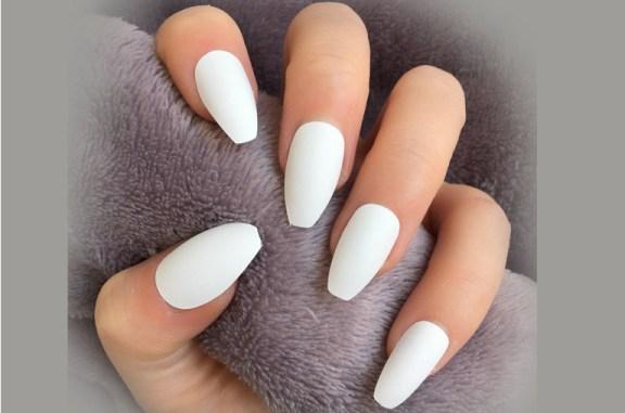 coffin shape nails white