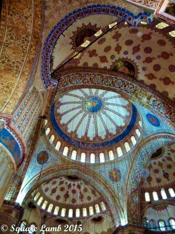 The ornate ceiling in the Blue Mosque