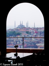 View from the Galata Tower towards a misty Hagia Sophia