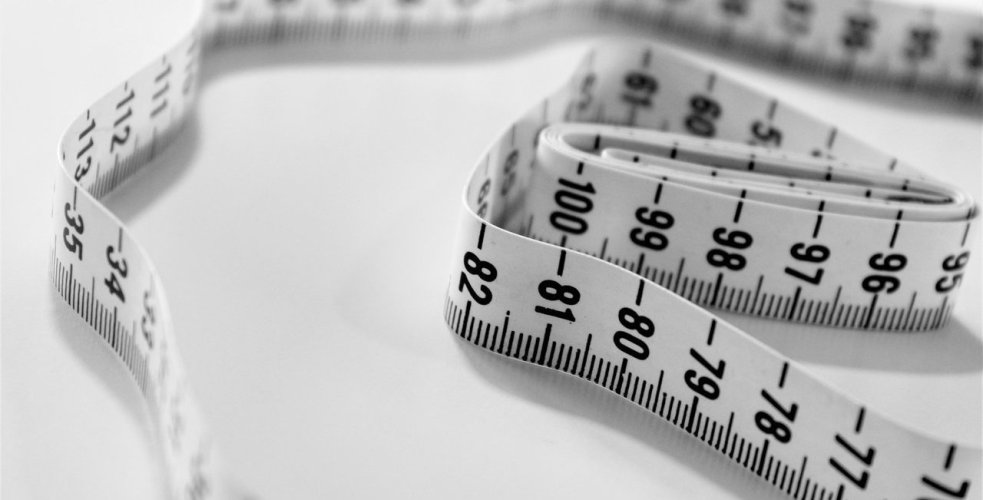 black and white fabric measuring tape