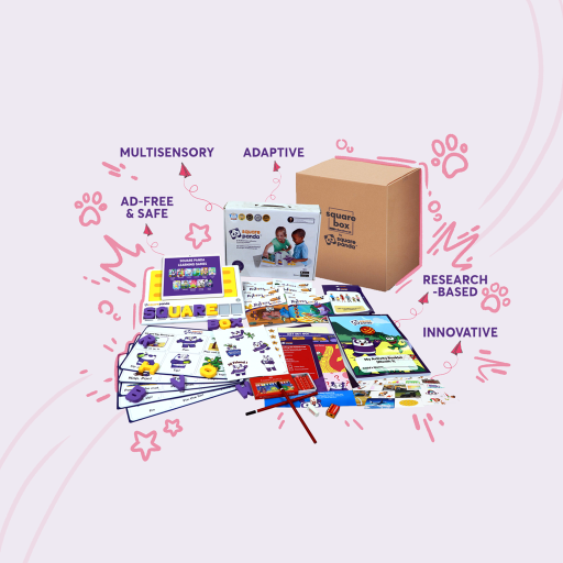 Multisensory, research-based, innovative SquareBox homeschooling kit to teach children at home easily