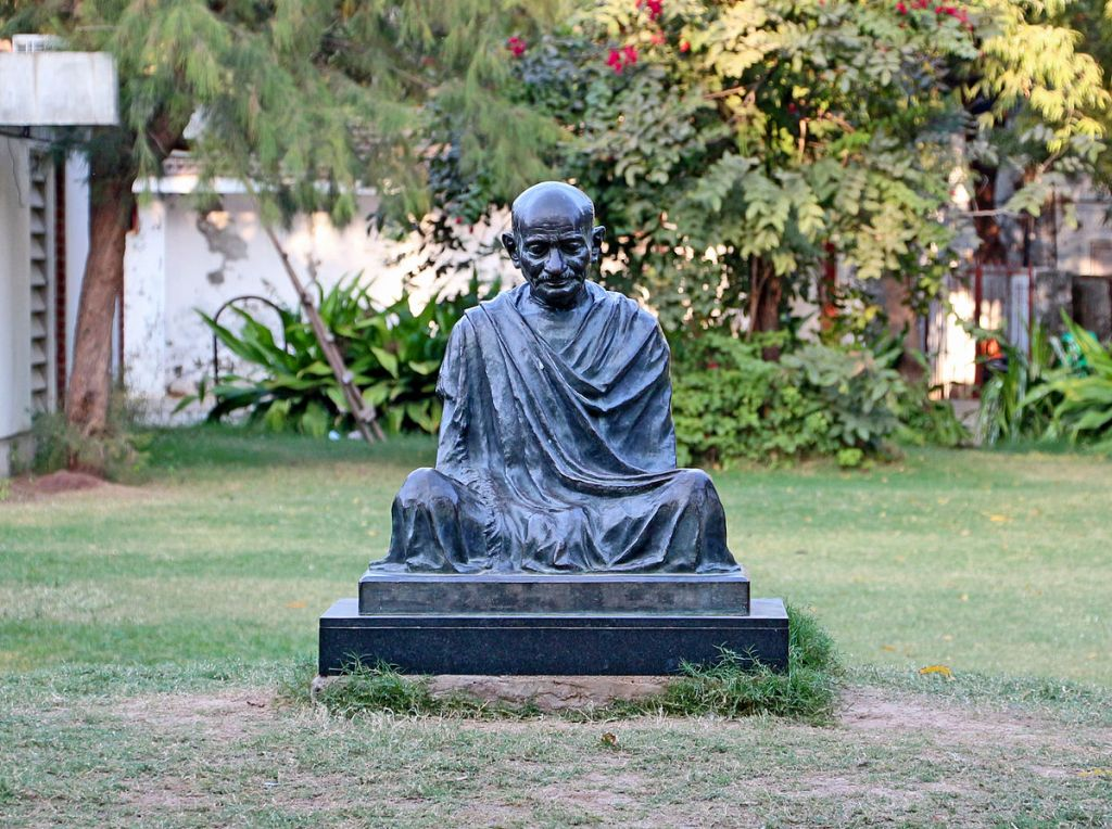 A statue honouring Mahatma Gandhi, at his home