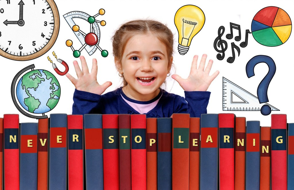 Young girl learning foundational literacy, numeracy, geography, and more